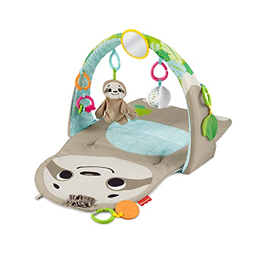 Fisher-Price Ready to Hang Sensory Sloth Gym Infant Activity Mat With Toys For Tummy Time and Play, Orange