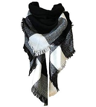 Wander Agio Womens Warm Scarf Triangle Shawls Large Scarves Stripe Plaid Fichu Big Black White 15