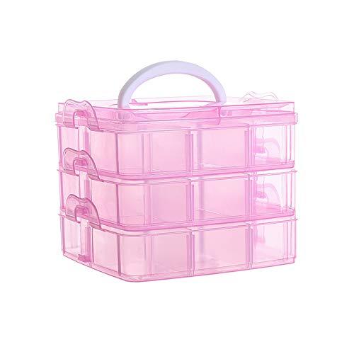 DZS Art & Craft - Caja de almacenamiento de plástico transparente multicapa para joyas, aretes, accesorios para el cabello, color rosa