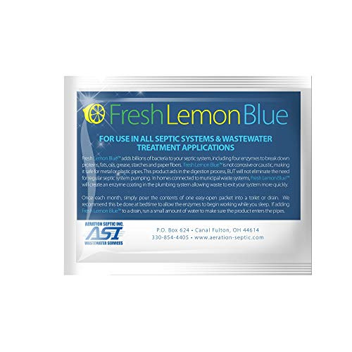 Fresh Lemon Blue Septic Tank System Treatment - Contains All Natural & Safe Enzymes And Bacteria 1 packet