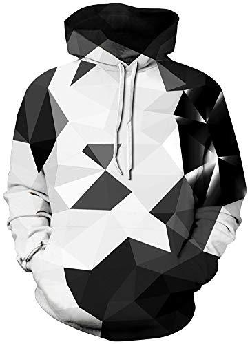 RAISEVERN Unisex 3D Neuheit Digitaldruck Taschen Pullover Kapuzenpullover für Frauen Männer, Schwarz Weiß Grau