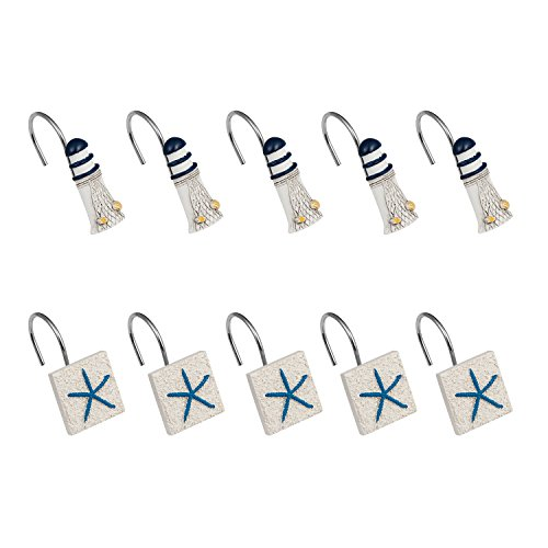 Cyrra Starfish and Lighthouse Stainless Steel Rust Resistant Decorative Shower Curtain Hooks (Starfish and Lighthouse)