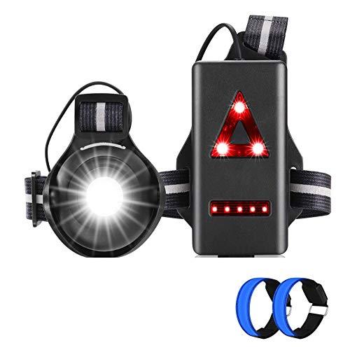 MLIAIMCE Lauflicht,Superhell Brust Licht,Wiederaufladbare USB Wasserdicht Leicht Sport Lauflamp,90° Einstellbarer Abstrahlwinke Reflektierende Brustgurt,Fur Laufen Joggen Angeln Camping Radfahren