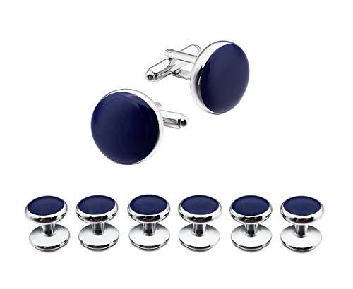 Ducomi Set di Gemelli e 6 Bottoni da Camicia per Uomo - Accessorio Coordinato ed Elegante per Abito e Smoking Ideale per Incontri di Lavoro e Occasioni Speciali (Silver/Blue)