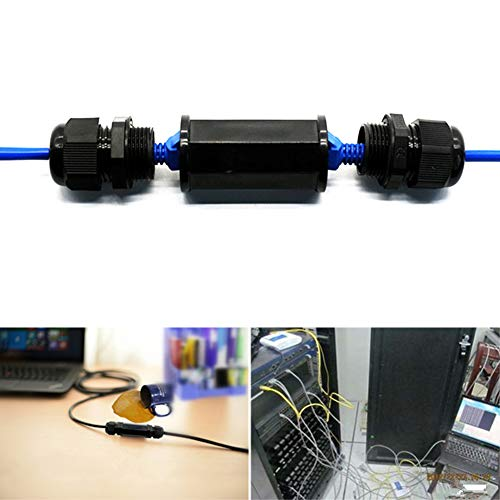 GEZICHTA Easy Use Staubdicht RJ45 Wasserdicht Stecker IP67 Ethernet Netzwerk Kabel Stecker Doppelkopf Outdoor LAN Kupplung Adapter Buchse Cat5 6 7 8P8C, Schwarz , Free Size