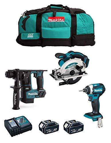 MAKITA Kit MK304 (Tassellatore DHR171 + Avvitatore ad Impulsi DTD154 + Sega Circolare DSS610 + 2 Batterie 5,0 Ah + Caricabatterie + LXT600)