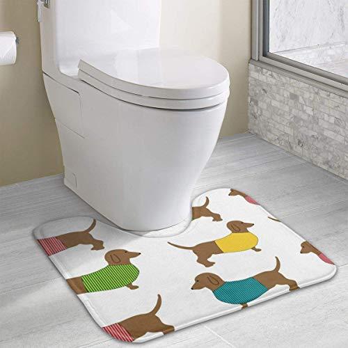 Tappeto a forma di U a forma di U del tappetino da bagno della carta da parati del cane del bassotto cane carino, tappetino da bagno assorbente antiscivolo lavabile in lavatrice (15,7 x 19 pollici)