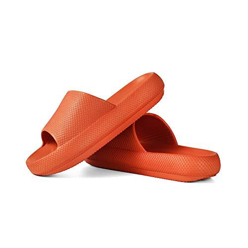 Pillow Slides Slippers for Bad feet, super Soft Home Slippers, Eva Ultra Rebound Quick Drying Shower Sandals Anti-Slip for Men Women (XL US:3.7.5-8/UK:6.5-7, Orange)