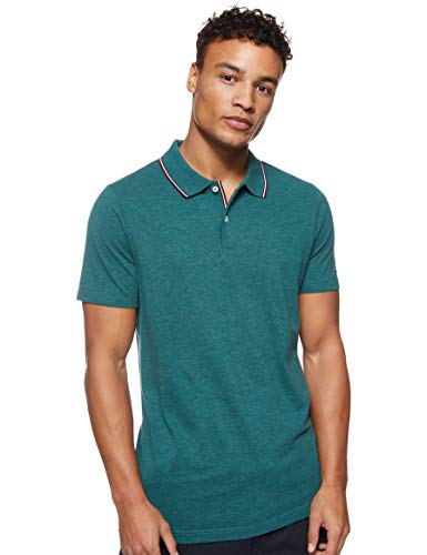 Tommy Hilfiger Herren Heather Tipped Slim Polo Poloshirt, Grün (Green Mq4), Medium