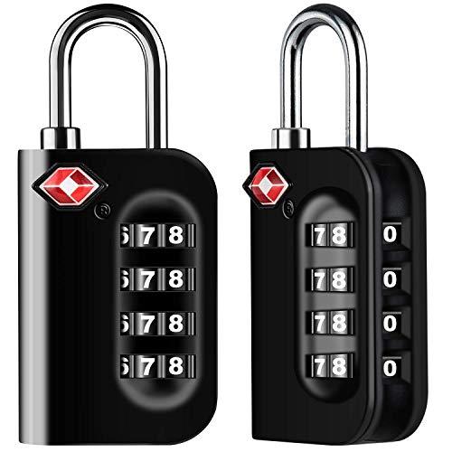 Candados de Equipaje, [VersióN Nueva] Diyife 2 X TSA Candado de Seguridad de 4 DíGitos, Candados de CombinacióN para Maletas Viaje Mochila Equipaje(Negro)
