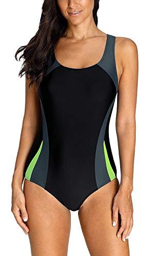Anwell Damen sportlich Training einteilig Schwimmanzug Badeanzug Bademode Grau XXL