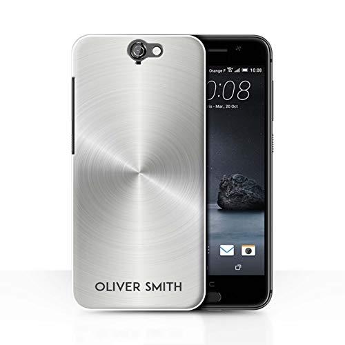 eSwish Personalisiert Individuell Gedruckter Effekt Metall Hülle für HTC One A9 / Silber Metallisch Design/Initiale/Name/Text Schutzhülle/Case/Etui
