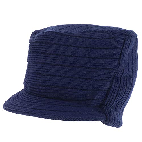 Armycrew Flat Top Army Style Knitted Visored Beanie Cap - Navy