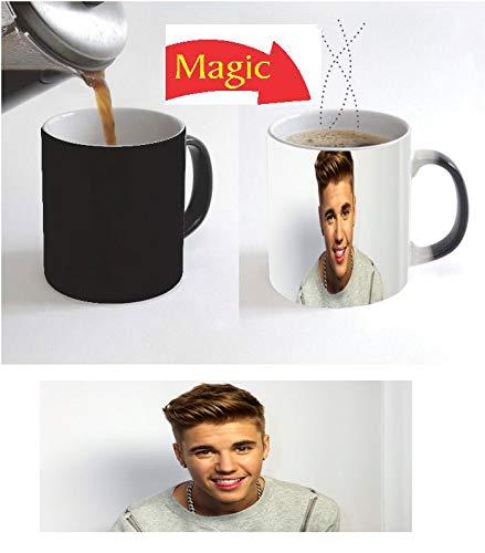Color Change Magic Black Coffee Mug Justin Singer Bieber Handsome Hat Hot Canadian Christmas Gift D1