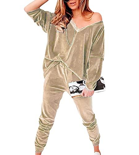 OADOBKICE Monos Mujer Chándal Manga Larga Para Mujer Chándal Ligero Mujer Ropa Deportiva Cómoda Para Mujer Mono Largo Mujer Mono Talla Grande Para Mujer Arriba Y Abajo Sudadera Mujer Albaricoque S