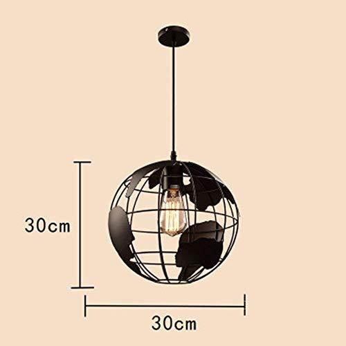 PIN Moderne kreative eisen globus pendelleuchte persönlichkeit retro cafe restaurant anhänger beleuchtung anhänger beleuchtung, schwarz, 30cm,Schwarz-30cm