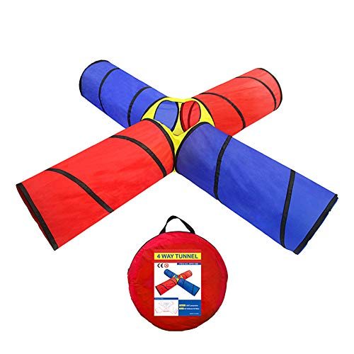 ionlyou Four Channels Crawling Tunnel Toys Children Outdoor Indoor Toy Tube Pop Up Creeping Tunnel Baby Play Crawling Games Play Tent