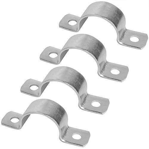 4 abrazaderas de fijación M762 con orificios en forma de U, grosor de 3,5 mm, hierro galvanizado, diámetro de tubo: 76 mm, tornillos no incluidos en el envío.