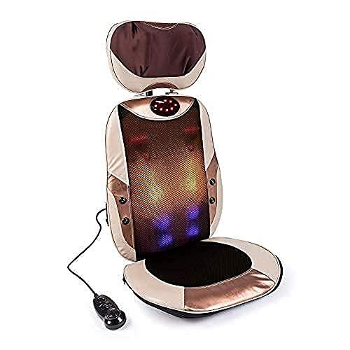 MANTRA® Respaldo de masaje Shiatsu y amasamiento - Beige (modelo 2021) - Asiento masajeador para coche, casa, trabajo - Reposacabezas ajustable y asiento extraible - Masaje de espalda, hombros, lumbar