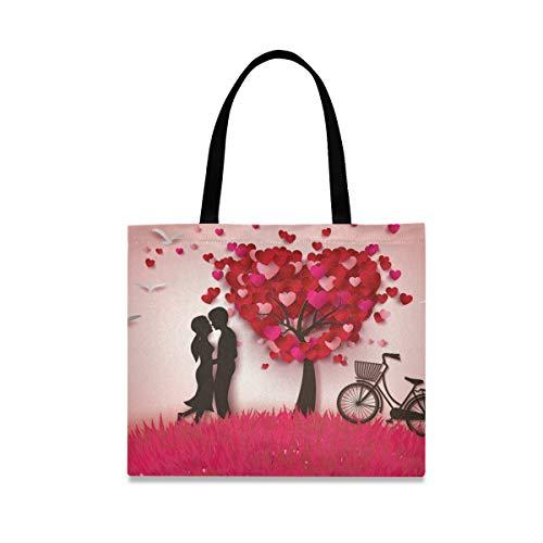 XiangHeFu Valentinstag-Liebes-Herz-Baum-Paar-Qualitäts-Beutel-Taschen-großer Reißverschluss-Beutel-Bleistift-Kasten-Halter
