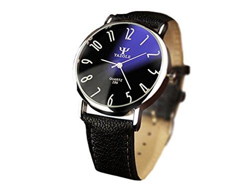 SAMGU Uomo Pelle Watches Analogico Quarzo Army Military Orologio da polso nero