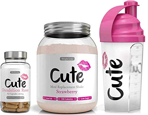 Cute Nutrition Strawberry Meal Replacement Shake with Pink Shaker and Dandelion Root Capsules Weight Loss Control for Women Low Calories Low Fat