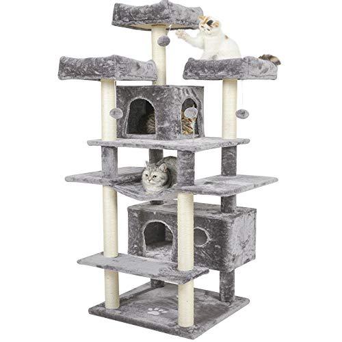 MSmask Kratzbaum groß XXL, 175cm Katzenbaum Grosse Katzen stabil mit 3 großer Aussichtsplattform,Katzenkratzbaum für große Katzen, Sisal-Kratzstangen (Hellgrau)