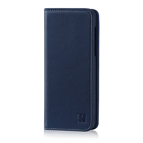32nd Klassische Series - Lederhülle Hülle Cover für Motorola Moto G6 Play, Echtleder Hülle Entwurf gemacht Mit Kartensteckplatz, Magnetisch & Standfuß - Marineblau