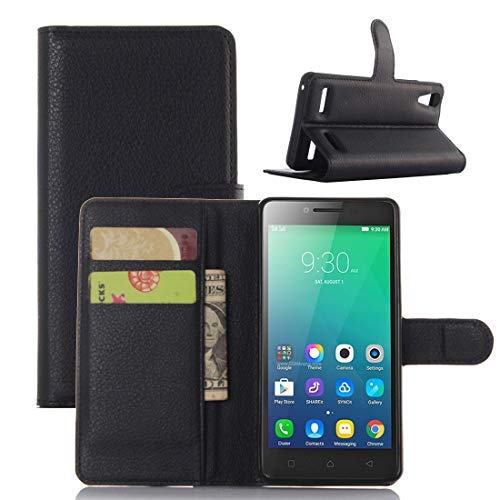 Jiangym Phone Cases Litchi Texture Horizontal Flip Leather Case for Lenovo A6010 & A6000 Plus, with Wallet & Holder & Card Slots (Black) Phone Cases (Color : Black)