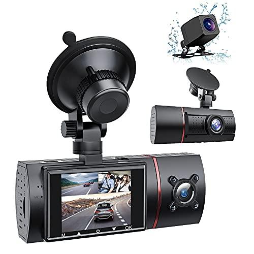 RaMokey 3 Lens Dashcam 2 Zoll Full HD 1080P Autokamera mit Infrarot-Nachtsicht 170 ° Weitwinkel Loop-Aufnahme G-Sensor WDR Parküberwachung und Bewegungserkennung
