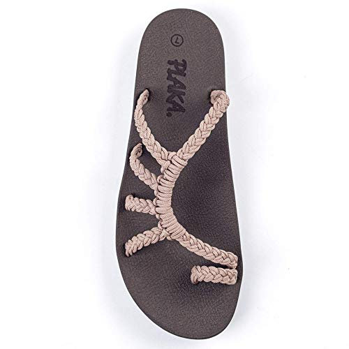 Plaka Relief Flip Flops for Women with Arch Support | Comfy Sandals for Women | Perfect for the Beach, Long Walks or Poolside | Reduces Heel & Back Pain | Brazilian Sand | Size 8