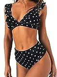 JFAN Mujer Traje de Baño Bikini Punto de Onda Ruffle Conjunto de Bikini de Playa Acolchado Bañador (Negro, M)