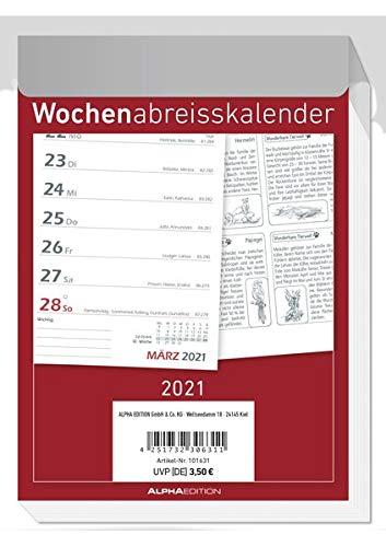 Wochenabreißkalender 2021 - Bürokalender 10,5x15 cm - 1 Woche 1 Seite - mit Sudokus, Rezepten, Rätseln uvm. auf den Rückseiten - Alpha Edition