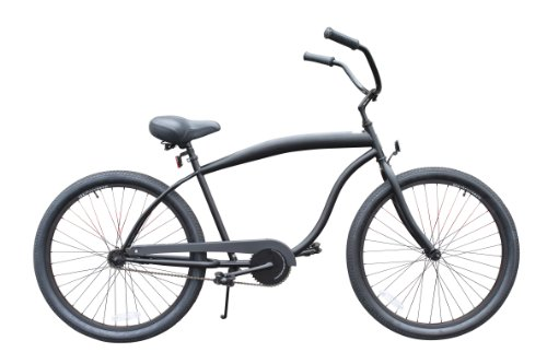 sixthreezero Men's In The Barrel Single Speed Beach Cruiser Bicycle, Matte Black w/ Black Seat/Grips, 26' Wheels/ 18' Frame