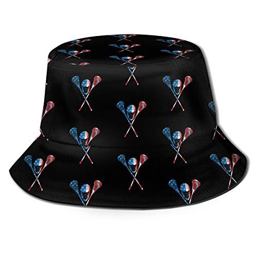 YoungbG Sombrero de cubeta Lacrosse Bandera Americana Jugador de Lacrosse Sombrero de Pescador Gorra de protección Sombrero para el Sol