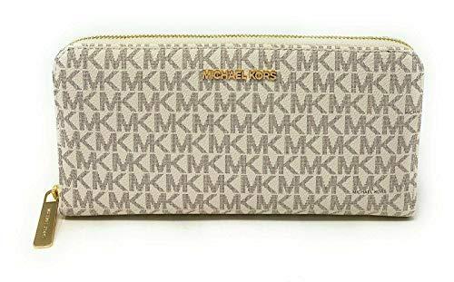 Michael Kors Jet Set Travel XL Zip Around Wallet in Signature Vanilla