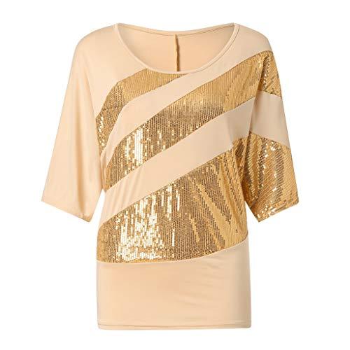 Zimuuy Zimuuy Damen Sommer Bluse, Frau Plus Größe Beiläufiges Pailletten Schulterbluse Kurzarm T Shirt Oberteile (XXXL, Gelb)