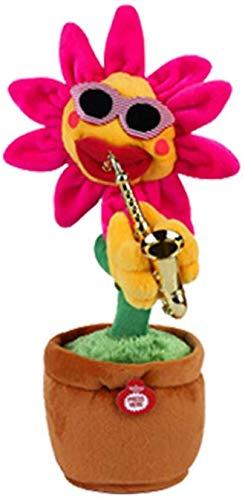 htrdjhrjy Selten Elektrisch Sun Voluptuous Blume Singender Tanzende Blowing Saxophon Simulation Sonnenblume Plüsch Spielzeug - H01