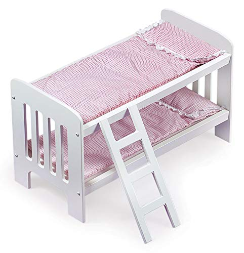 Badger Basket Gingham Doll Bunk Bed with Ladder, Bedding, and Free Personalization Kit (fits American Girl Dolls), White/Gingham, 20