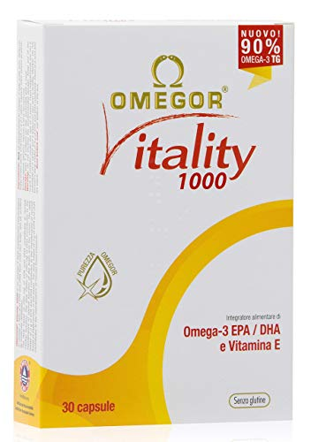 OMEGOR® Vitality 1000-90% di Omega-3 TG! Certificato IFOS dal 2006. EPA 535mg e DHA 268mg per capsula. 30 cps
