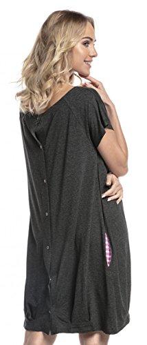 HAPPY MAMA Damen Geburtskleid Krankenhaus Umstands Nachthemd Stillfunktion. 097p (Graphit Melange, 44-46, XL)