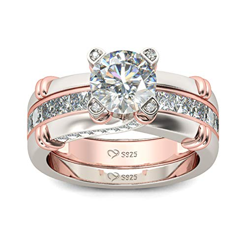 Jeulia Diamond Band Rings for Women cz Sterling Silver Interchangeable Ring Sets Wedding Engagement Anniversary Promise Ring Bridal Sets (rose gold, P-½)