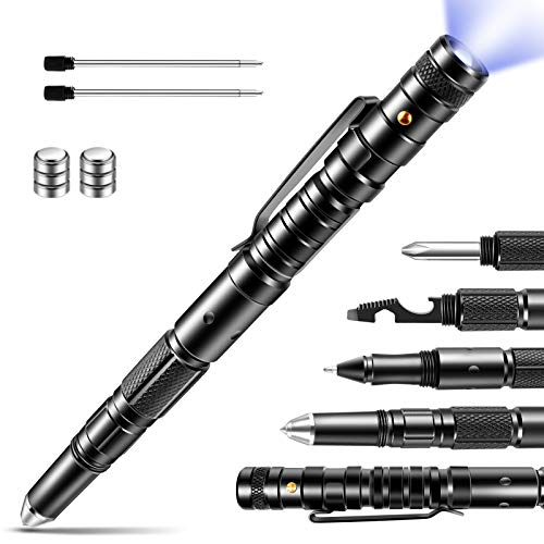 Gifts for Men, Tactical Pen, Multi-Tool with LED Flashlight for Women & Men, Cool & Unique Birthday Christmas Gifts Ideas for Him Husband Dad Grandpa with Black Gift Box