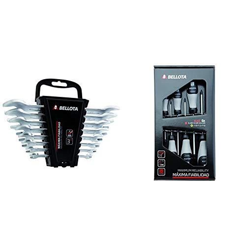 Bellota 6490-8Llaves fijas, kit de 8 unidades de llaves fija + 66291-ELECDestornilladores para electricista, Kit de 6 destornilladores de máxima fiabilidad