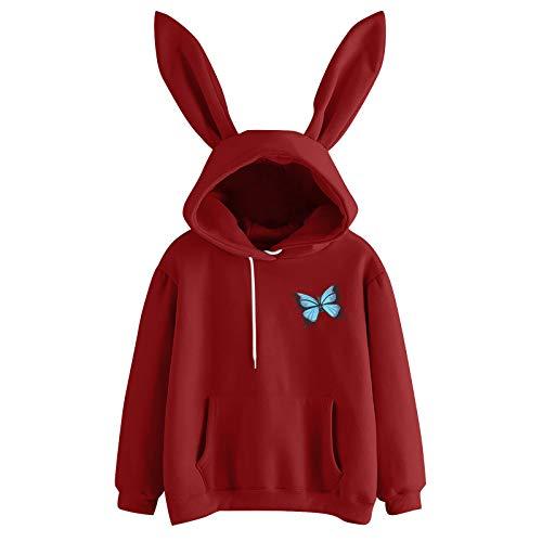 TOPSELD Womens Striped Hoodies Cute Rabbit Ear Long Sleeve Tunic Sweatshirt Drawstring Jumper Tops with Pockets(Wine,XL)