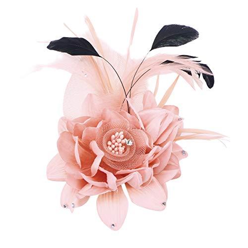 Amosfun 1 Pieza Telas Hechas a Mano Broche Flor Pluma Diadema Tocado Horquillas para Dama Mujeres Grils (Rosa)