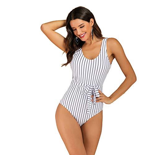 GOTIMAL Schlankheits Badeanzug Damen Push up badeanzüge große größen Bikini Set high Waisted Bademode Streifen mit Gürtel Schwarz&Weiß XL