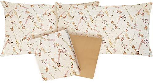 Flanella 100% di puro cotone Completo letto MATRIMONIALE due 2 piazze lenzuola sopra + lenzuolo sotto con angoli + 2 federe ZUCCHI BASICS (Mellow col 4)