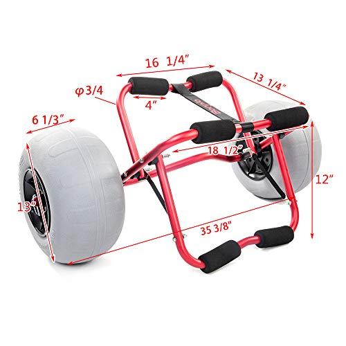 Bonnlo Kayak Canoe Boat Cart Carrier Dolly Trolley with 12' Big Beach Balloon Tires Wheels - Free Pump and Strap - Perfect for Soft Sand