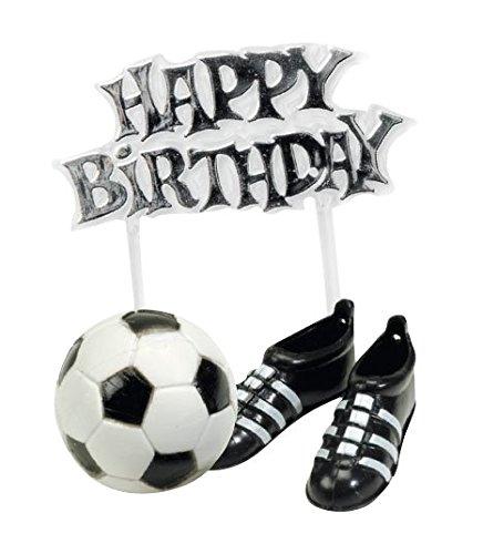 CREATIVE Fussball-Kuchendeko Happy Birthday 3-teilig schwarz-Weiss Einheitsgröße